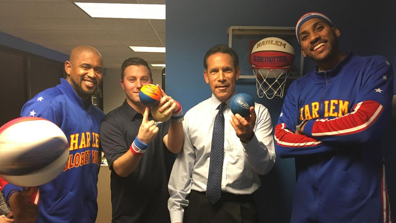 The Harlem Globetrotters stopped by ABC7 to show off some tricks on Tuesday, Jan. 9, 2018.