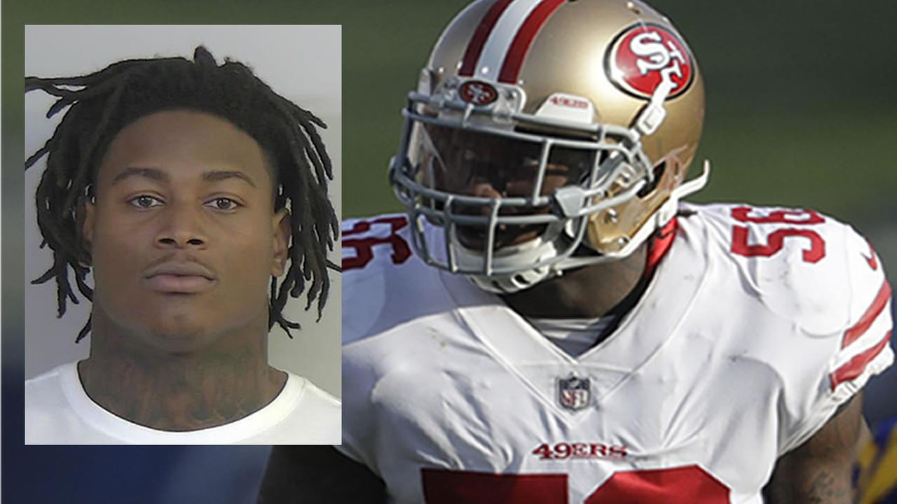Reuben Foster appears in his mugshot and on the field with the San Francisco 49ers