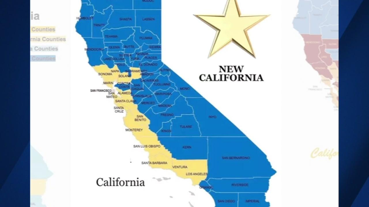 This undated image shows a map in which California would be divided into two states.