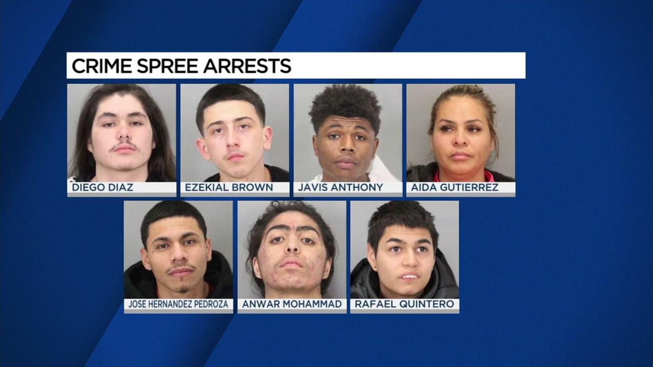 This graphic shows suspects arrested in a San Jose crime spree.
