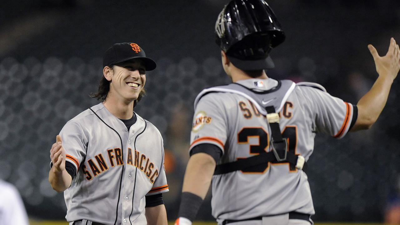 San Francisco Giants pitcher Tim Lincecum and teammate Andrew Susac
