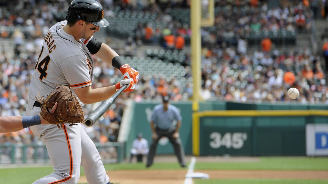 San Francisco Giants Andrew Susac hits a two run double against the Detroit Tigers in the first inning of a baseball game Sept. 6, 2014, in Detroit, Mich. AP Photo/Jose Juarez)