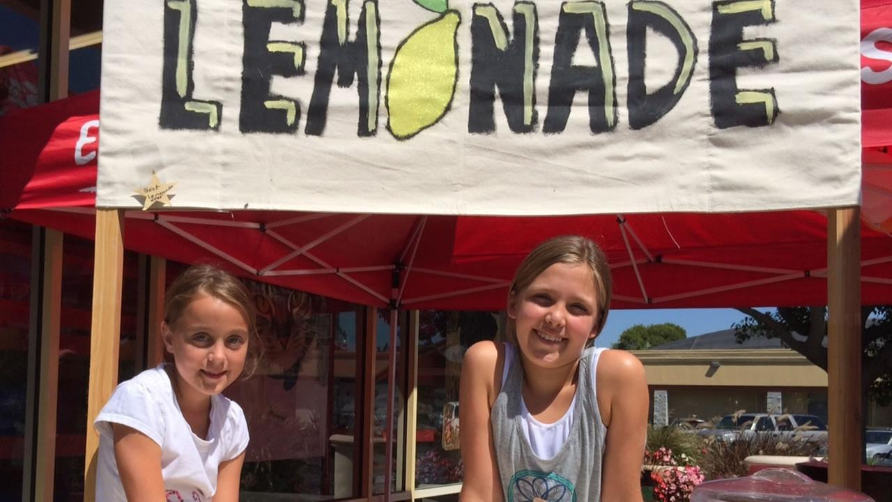 Two young girls raise nearly $700 from their lemonade stand for the furry victims of the Napa earthquake.