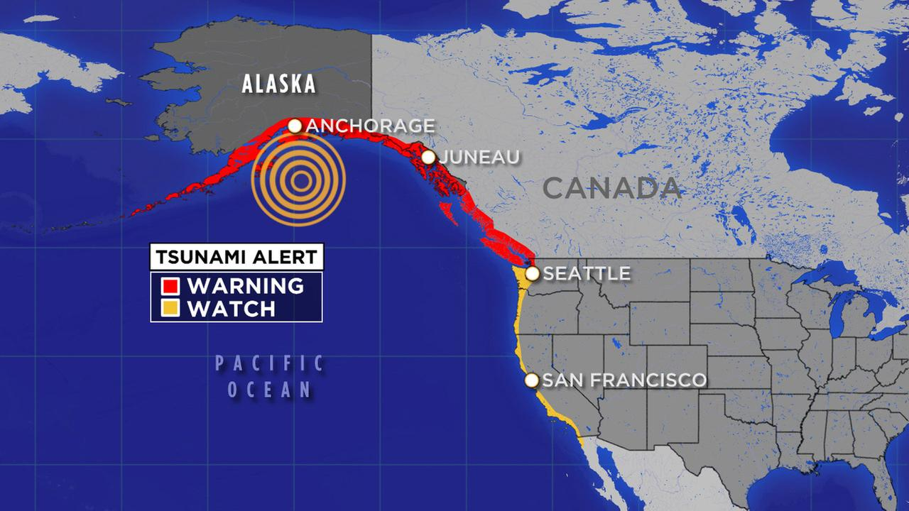Tsunami watch for West Coast after earthquake in Alaska.