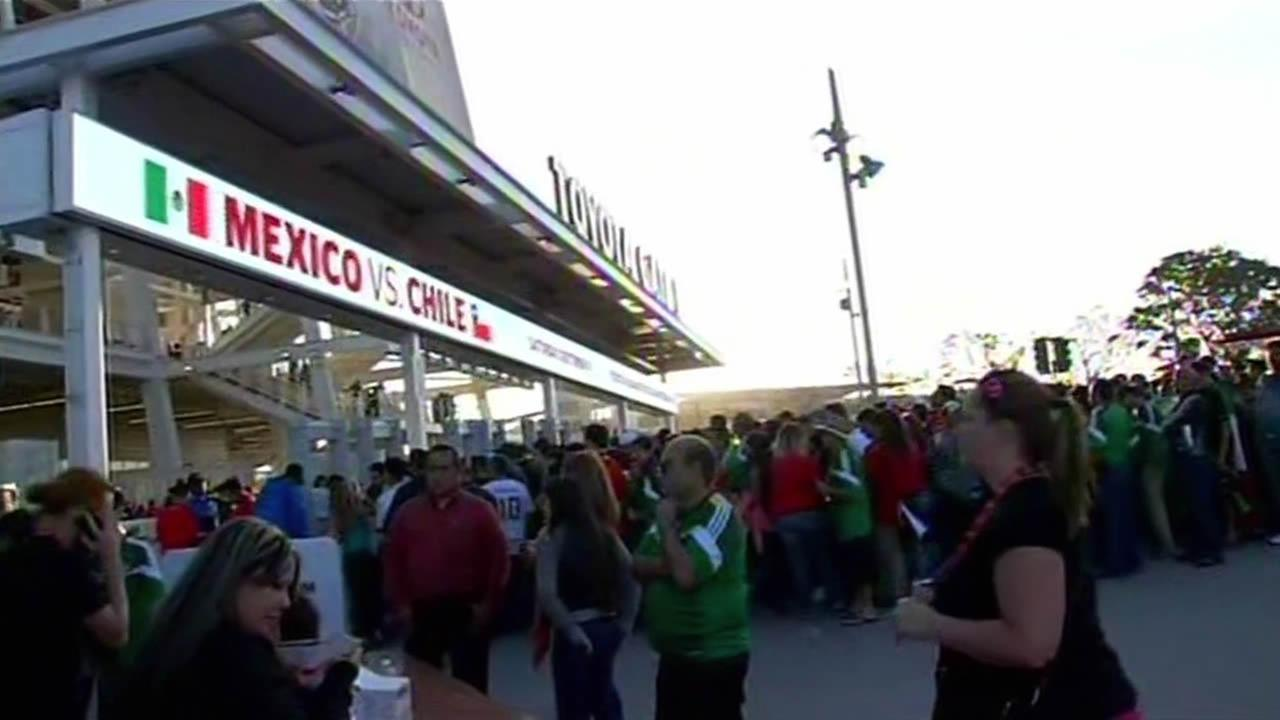Soccer fans show up at Levis Stadium in Santa Clara.
