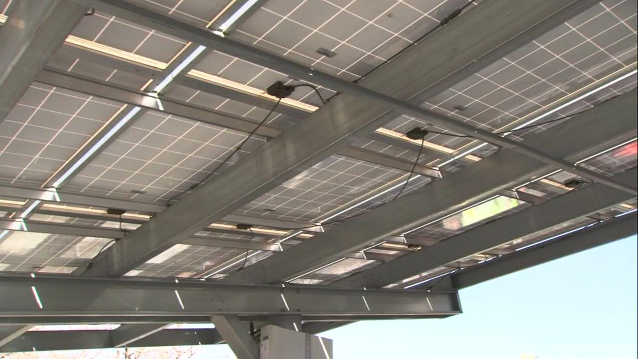 Solar panels appear on Tuesday, Jan. 23, 2018.