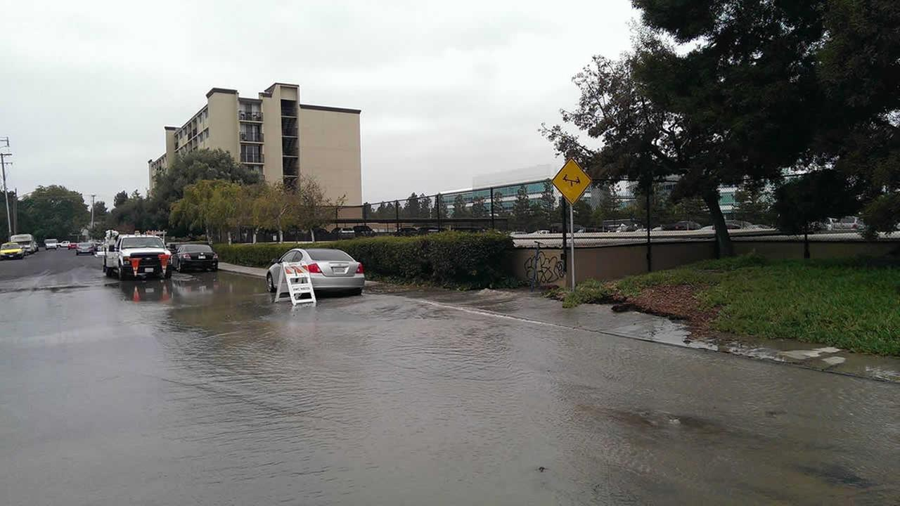 Water main break in Redwood City.