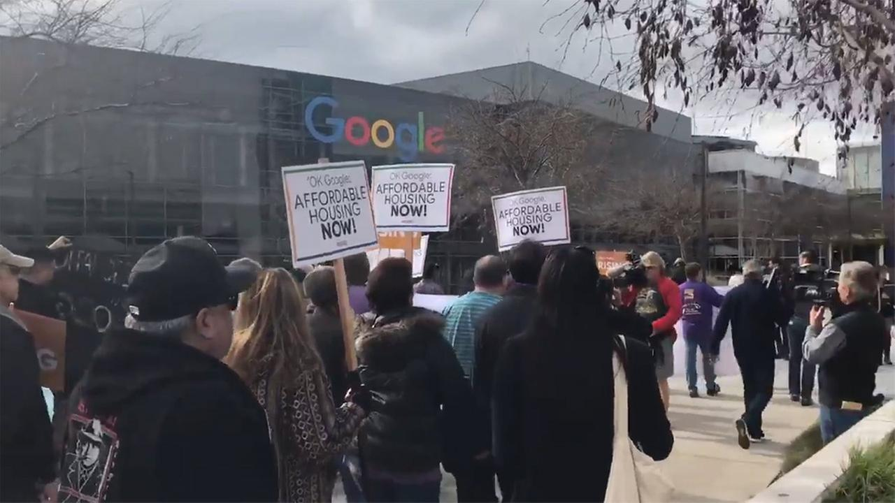 Protest at Google headquarters in Mountain View, California, Wednesday, January 24, 2018.