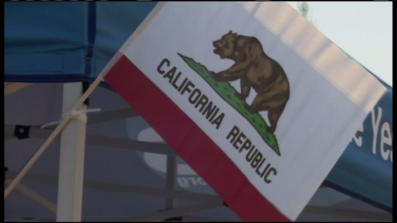 A California flag waves in the breeze in this undated file photo.