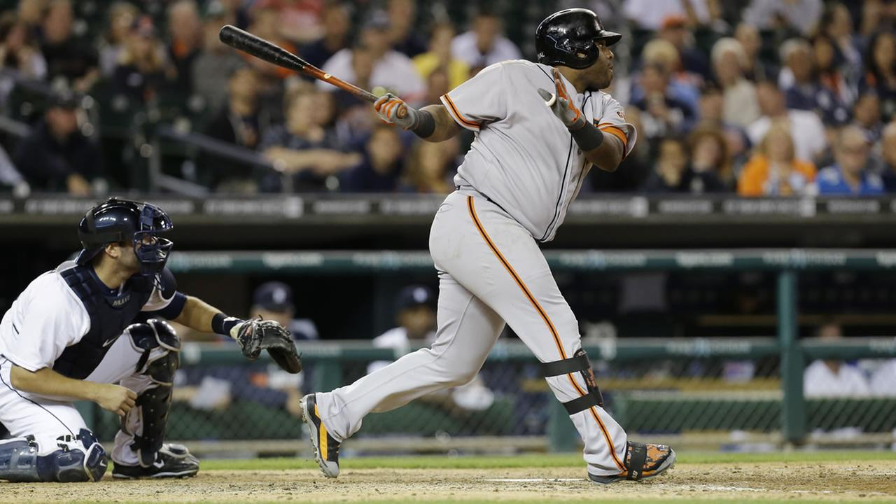 San Francisco Giants Pablo Sandoval bats against the Detroit Tigers in the eighth inning of a baseball game in Detroit Sunday, Sept. 7, 2014. (AP Photo/Paul Sancya)