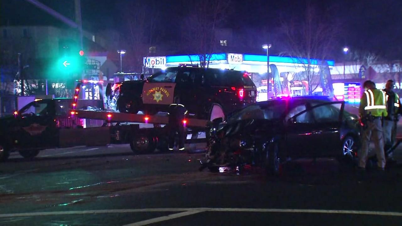 Accident involving CHP vehicle and another vehicle in Hayward, California, Friday, January 26, 2018.