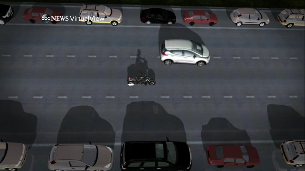 FILE -- Graphic of motorcycle and self-driving car accident in San Francisco.