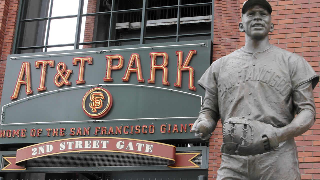 A statue of former San Francisco Giants baseball player Orlando Cepeda is shown in front of an entrance to AT and T Park in San Francisco, July 21, 2009. (AP Photo/Jeff Chiu)