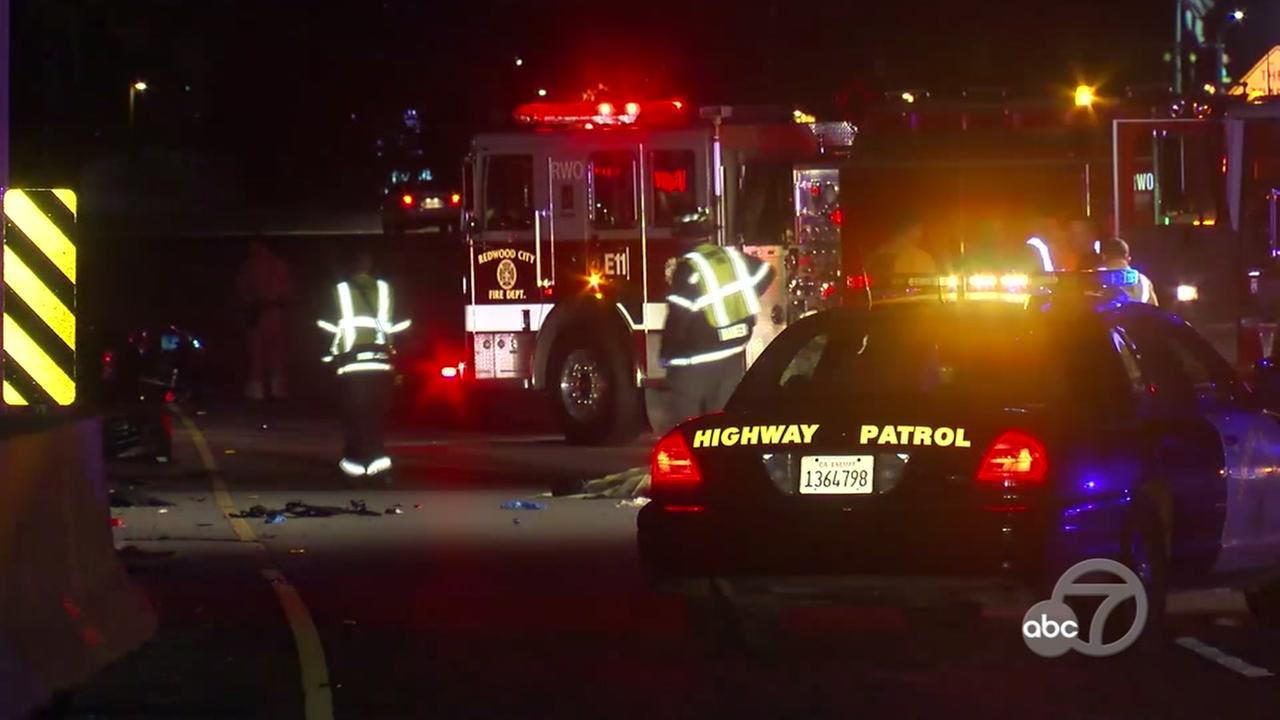 Fatal accident investigation on Highway 101 in Redwood City, California, Monday, January 29, 2018.