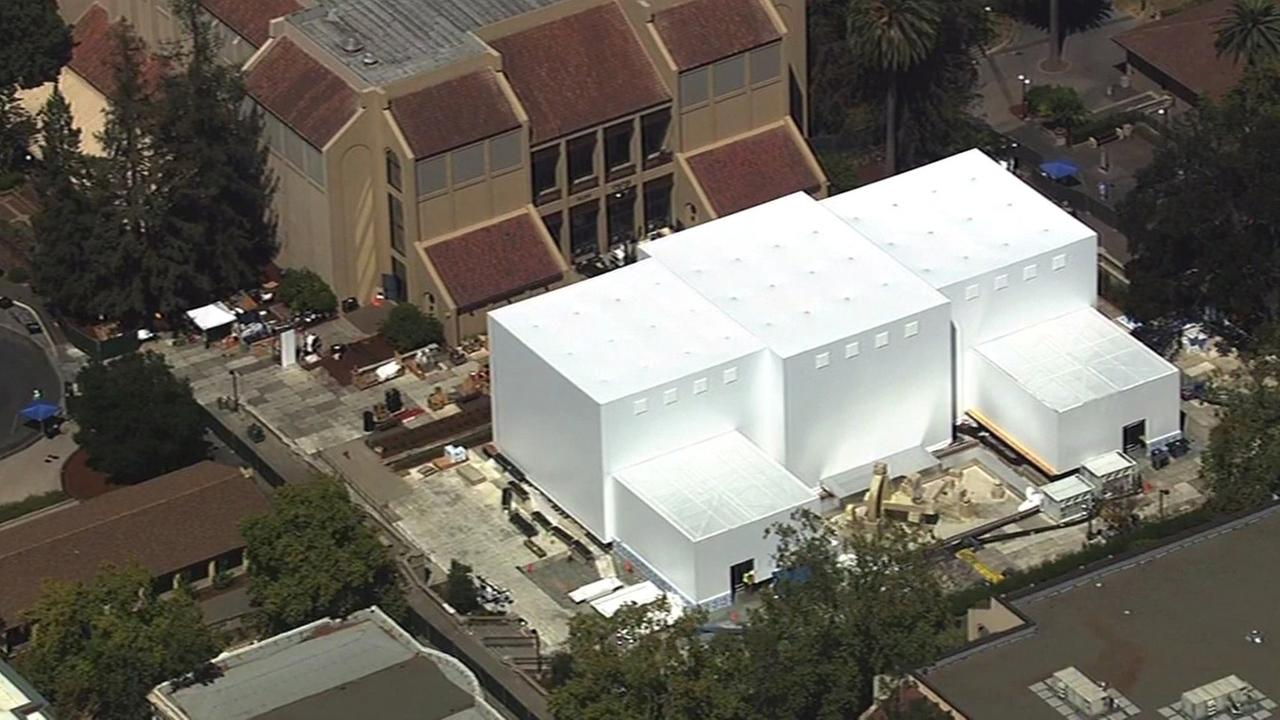 SKY7 HD over the white structure in Cupertino where Apple will unveil new products.