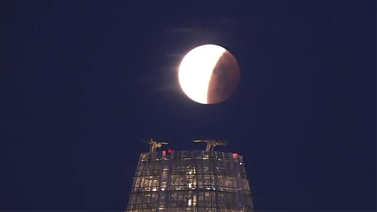 Super blue blood moon over San Francisco, Wednesday, January 31, 2018.