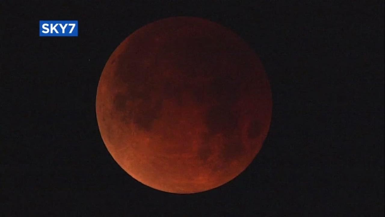 The super blue blood moon is seen over San Francisco by SKY7 on Wednesday, Jan. 31, 2018.