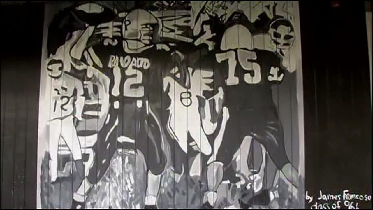 A James Franco mural is seen at Palo Alto High School in this undated image.