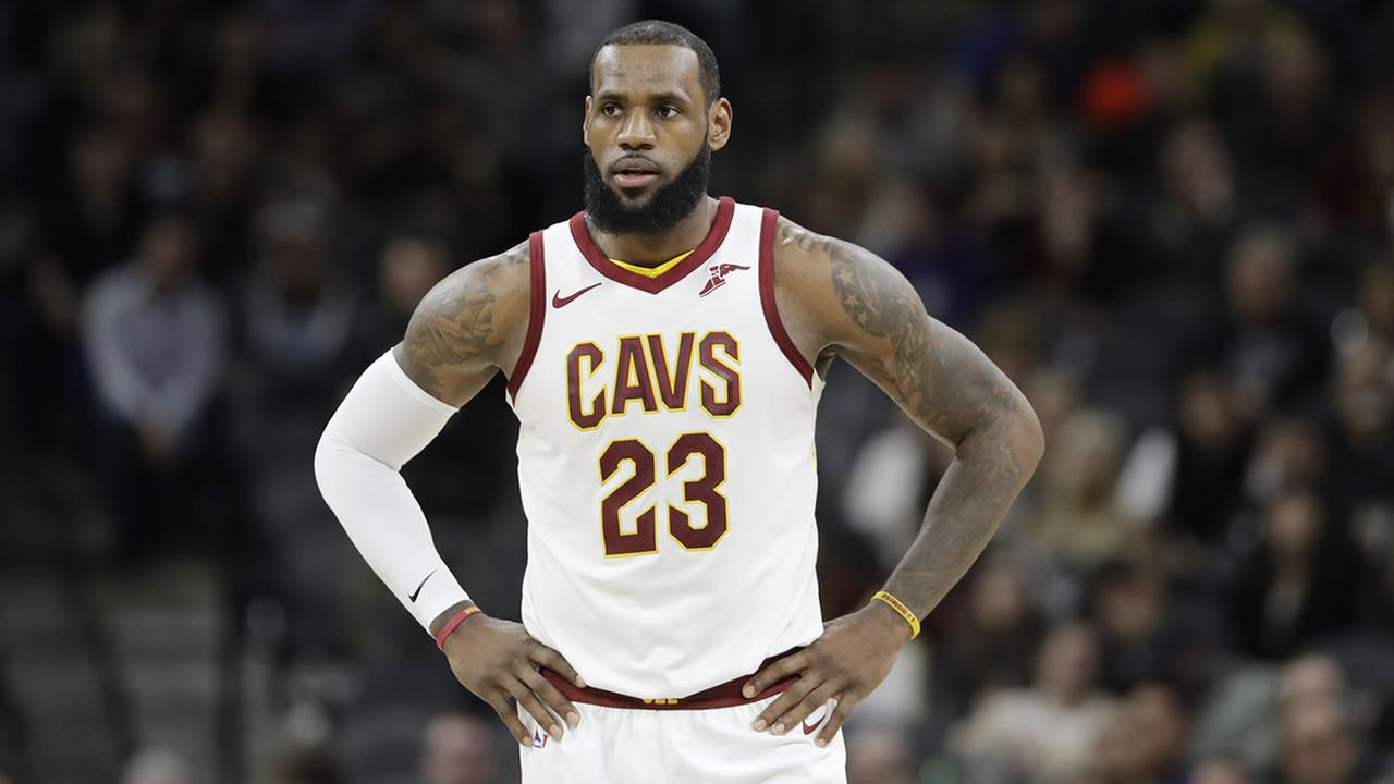 Cavaliers forward LeBron James (23) waits for play to resume during the first half of a game against the San Antonio Spurs, Tuesday, Jan. 23, 2018, in San Antonio.