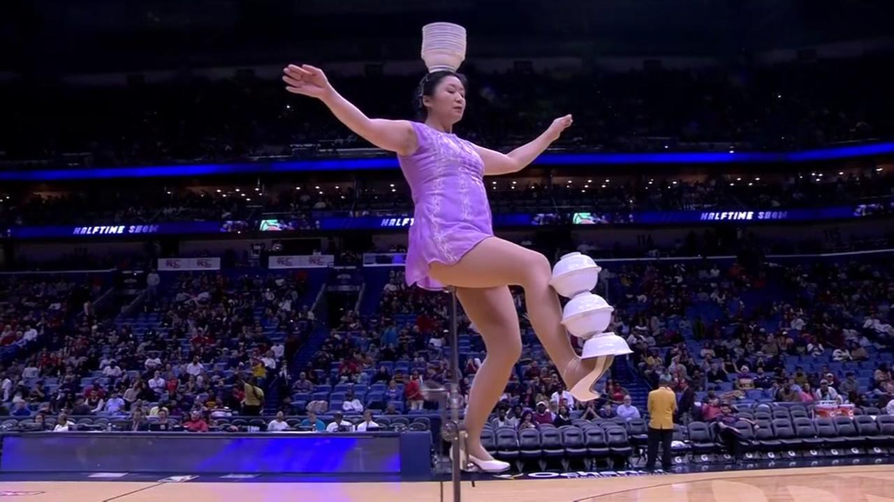 This undated image shows Red Panda performing during an NBA game.