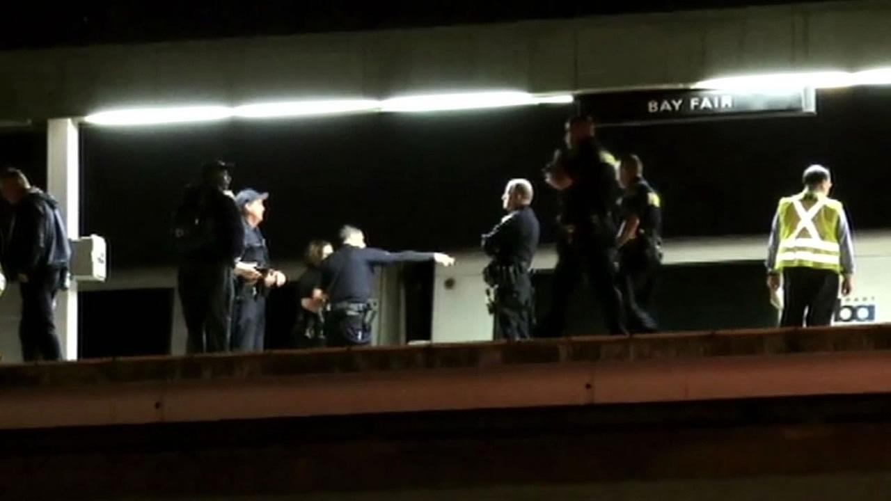 BART police officers investigate person hit at Bay Fair station
