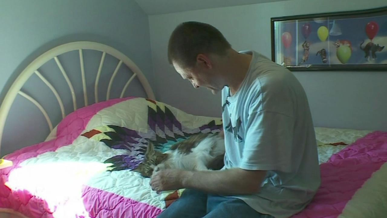 Greg Krueger, who built a funhouse for his cats, pets one of his animals.