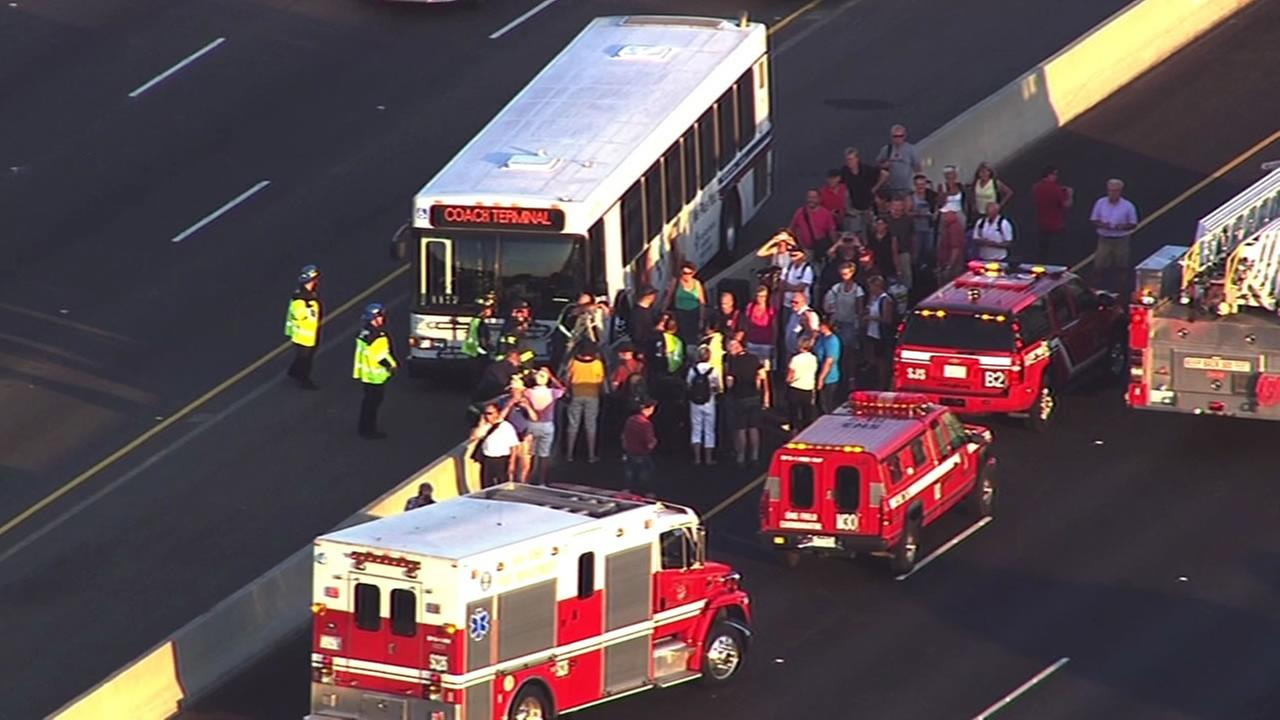 A bus fire on a VTA bus closed southbound lanes on the Capitol Expressway in San Jose.