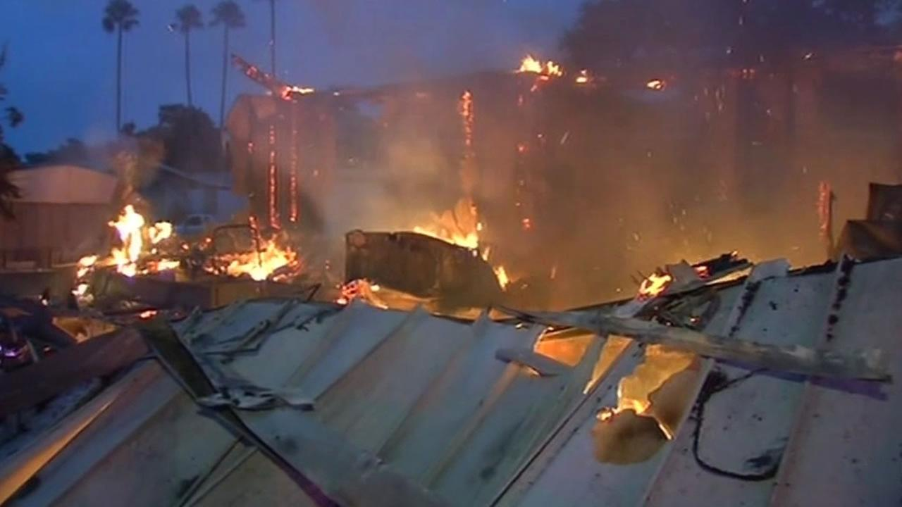 Napa Valley Mobile Home Park on fire after Napa earthquake