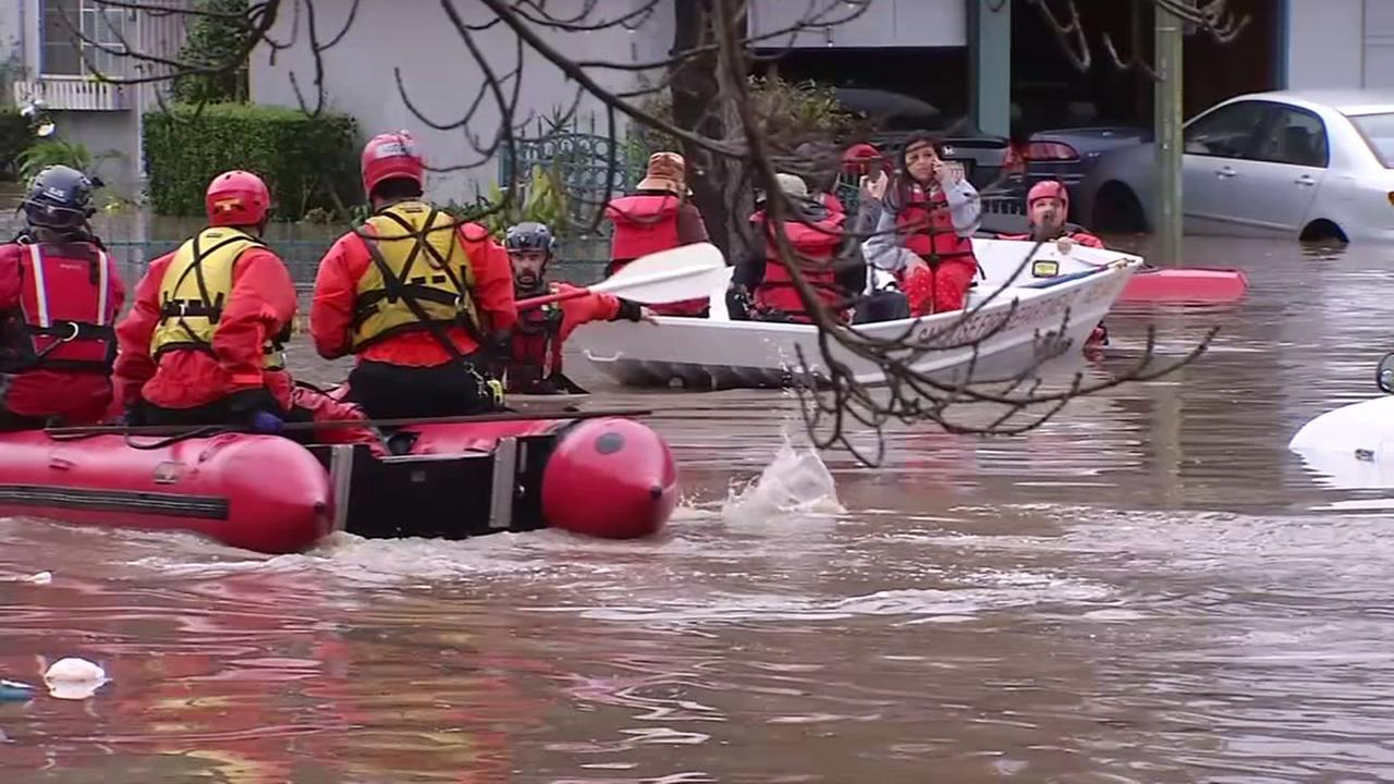 Rafts wade through floodwaters in San Jose, Calif. during floods in 2017.