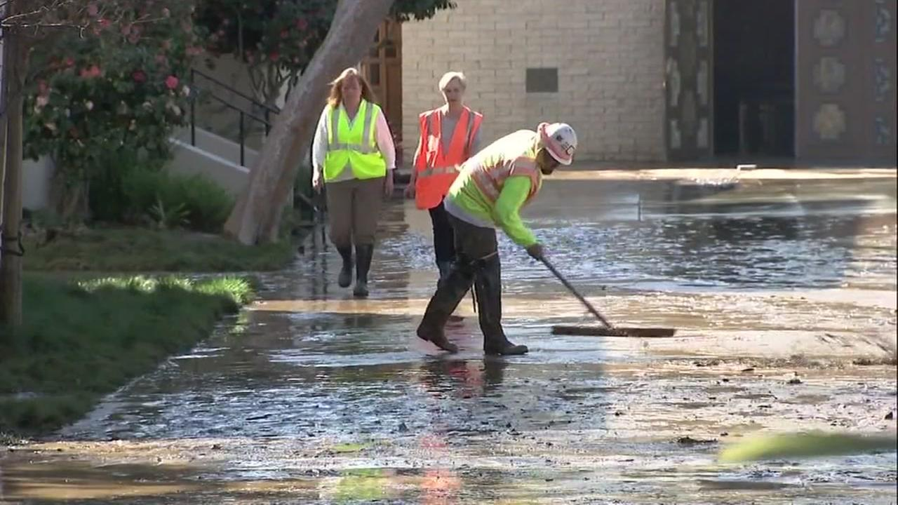 Cleanup was underway in San Mateo, Calif. following a water main break on Thursday, Feb. 8, 2018.