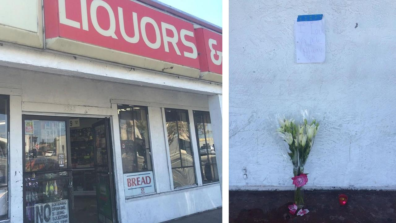 A memorial sits outside of a Richmond liquor store where a man was fatally shot by a police officer.