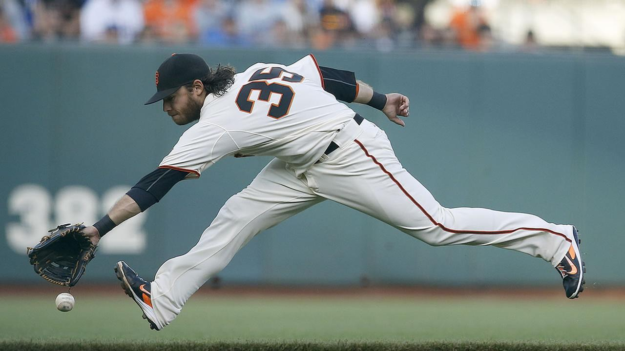 San Francisco Giants shortstop Brandon Crawford cant make the stop on a grounder by Los Angeles Dodgers Juan Uribe during the first inning of a baseball game Saturday, Sept. 13, 2014, in San Francisco. (AP Photo/Tony Avelar)