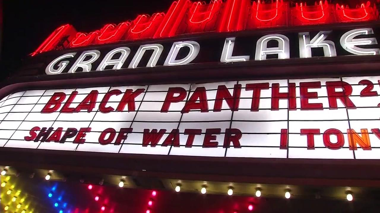 The marquee at the Oakland Grand Lake Theater is lit up for Marvel Studios Black Panther, on Thursday, Feb. 15, 2018.