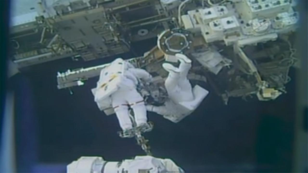 Astronauts spacewalk outside International Space Station, Friday, February 16, 2018.