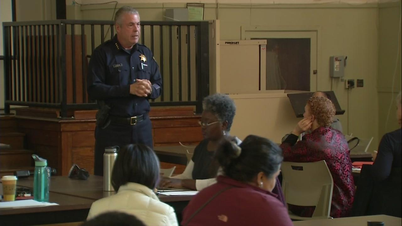 An officer gives training on active shooter protocol at an Oakland school on Friday, Feb 16, 2018.