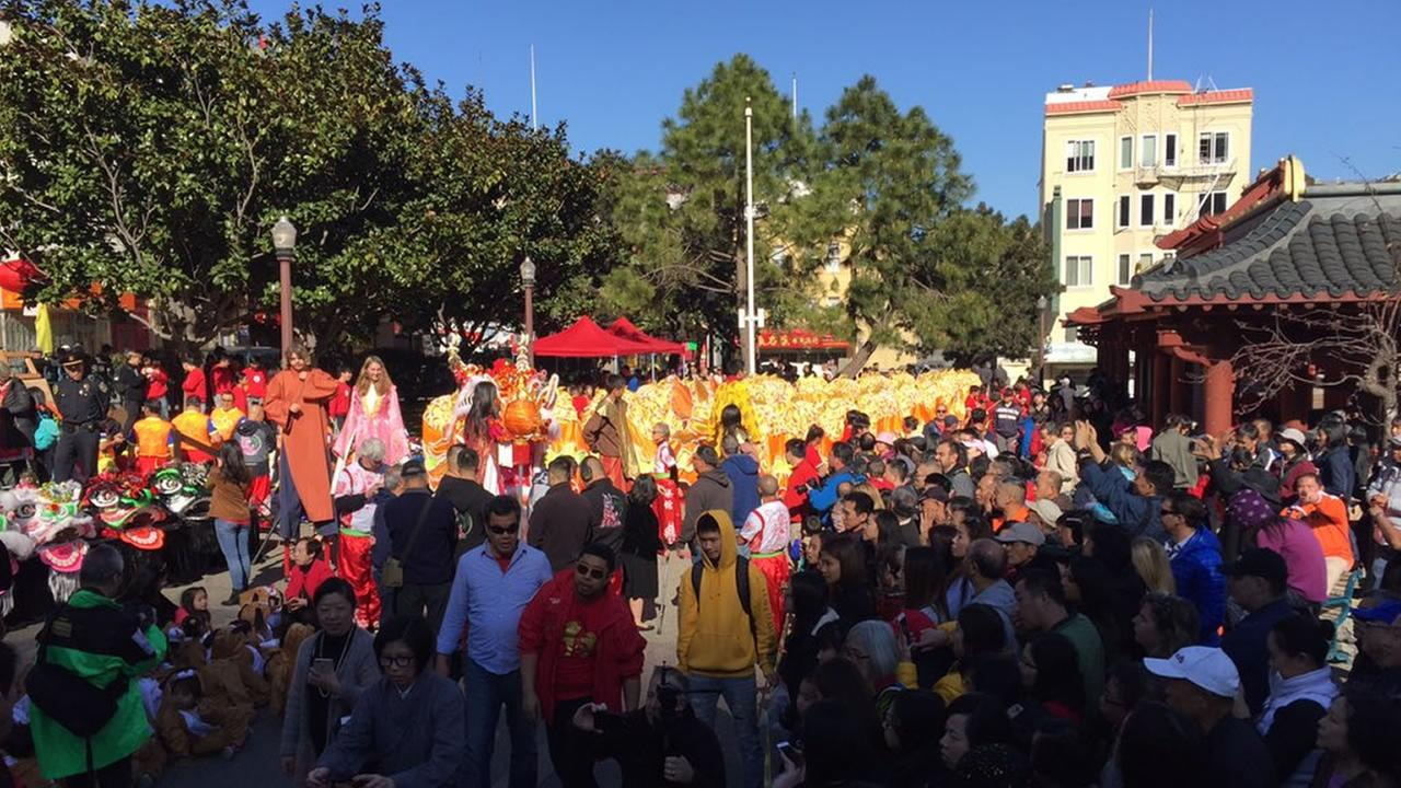 A crowd gathers for a Lunar New Year celebration in San Francisco on Friday, Feb. 16, 2018.