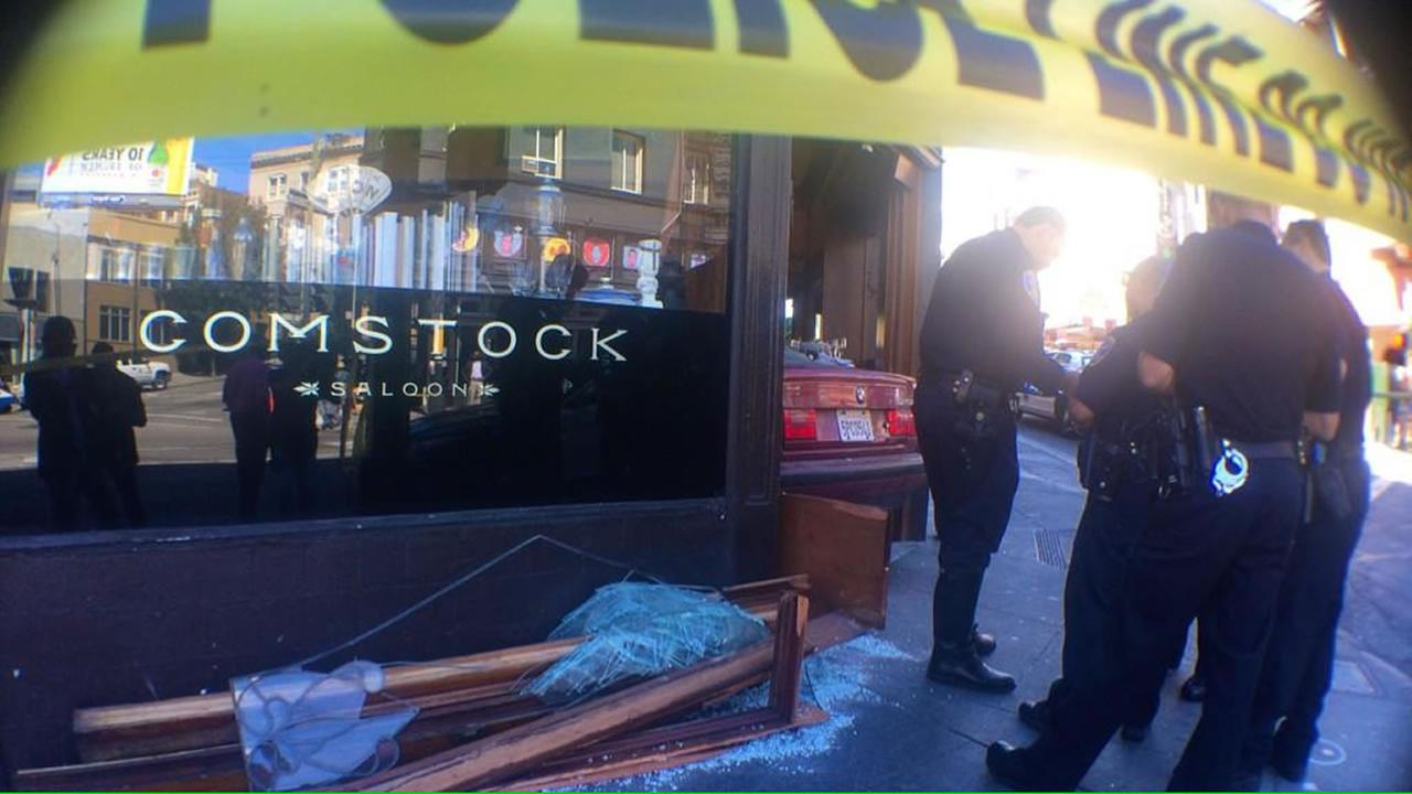 A car crashed into Comstock Saloon in North Beach.