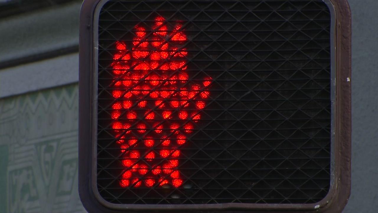 A crosswalk sign is seen in this undated image.