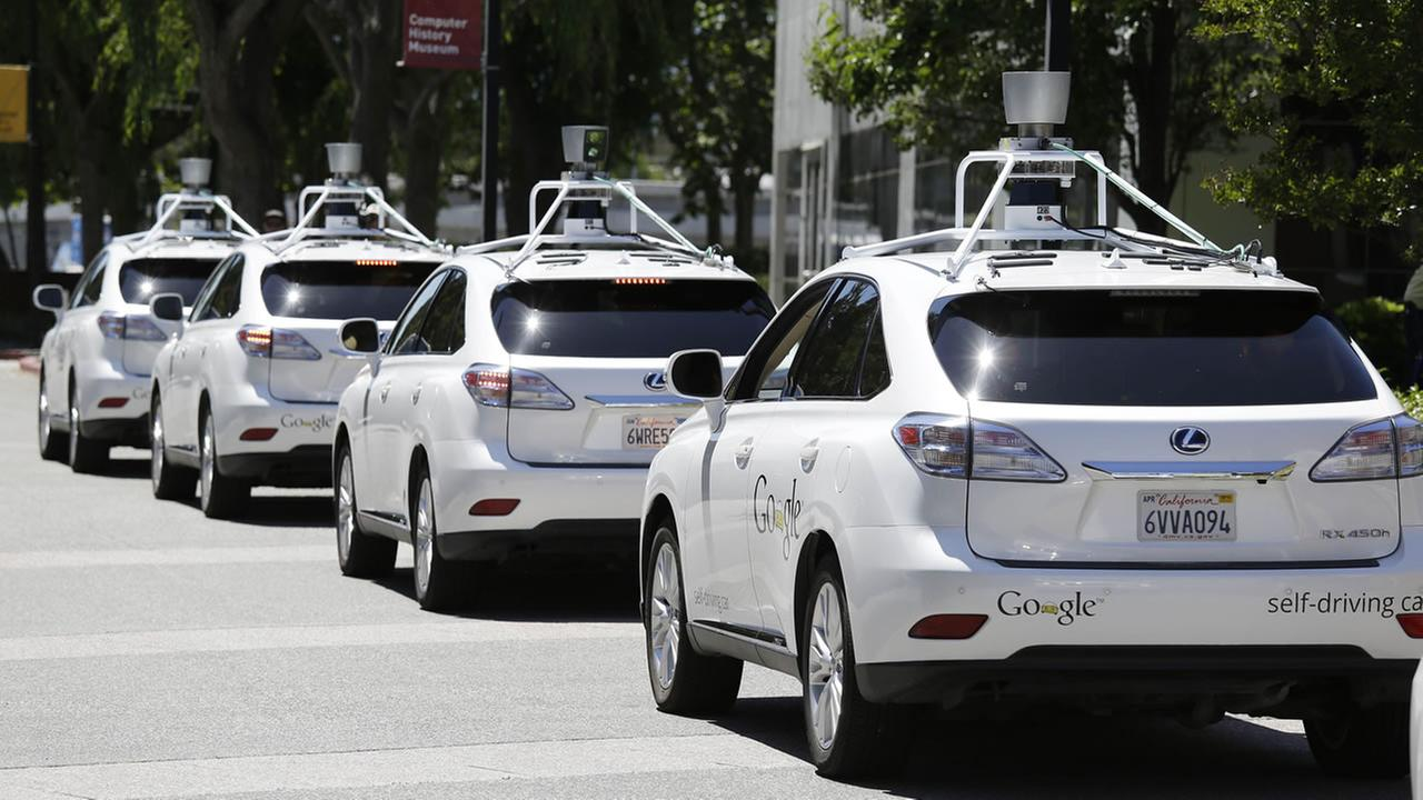 A row of self-driving cars.