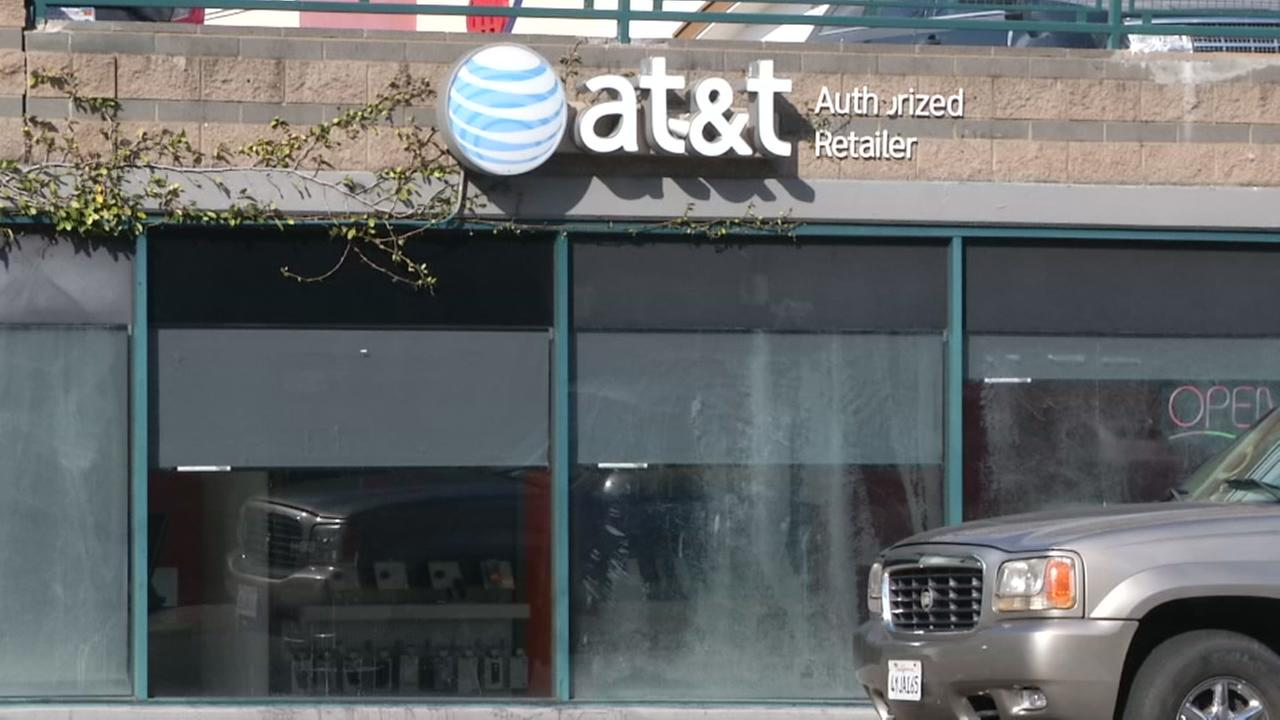 The front of an AT&T store is pictured in Hayward, Calif.