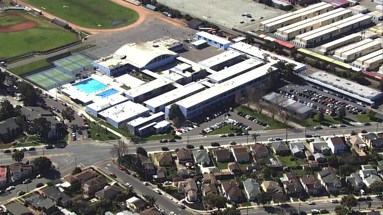 Encinal High School in Alameda, Calif. is seen from SKY7 on Wednesday, Feb. 21, 2018.