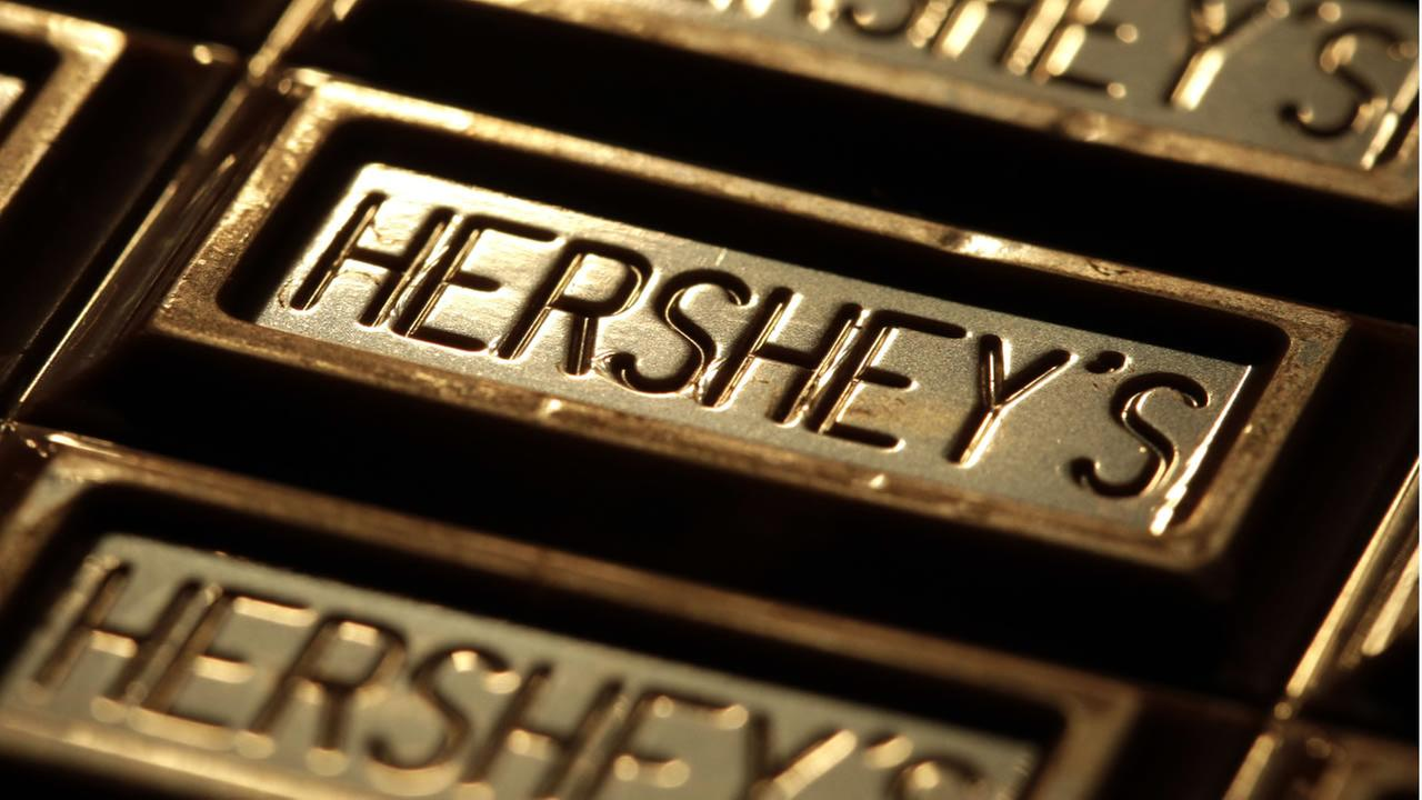 This July 25, 2011, file photo shows Hersheys chocolate in Overland Park, Kan. (AP Photo/Charlie Riedel, File)