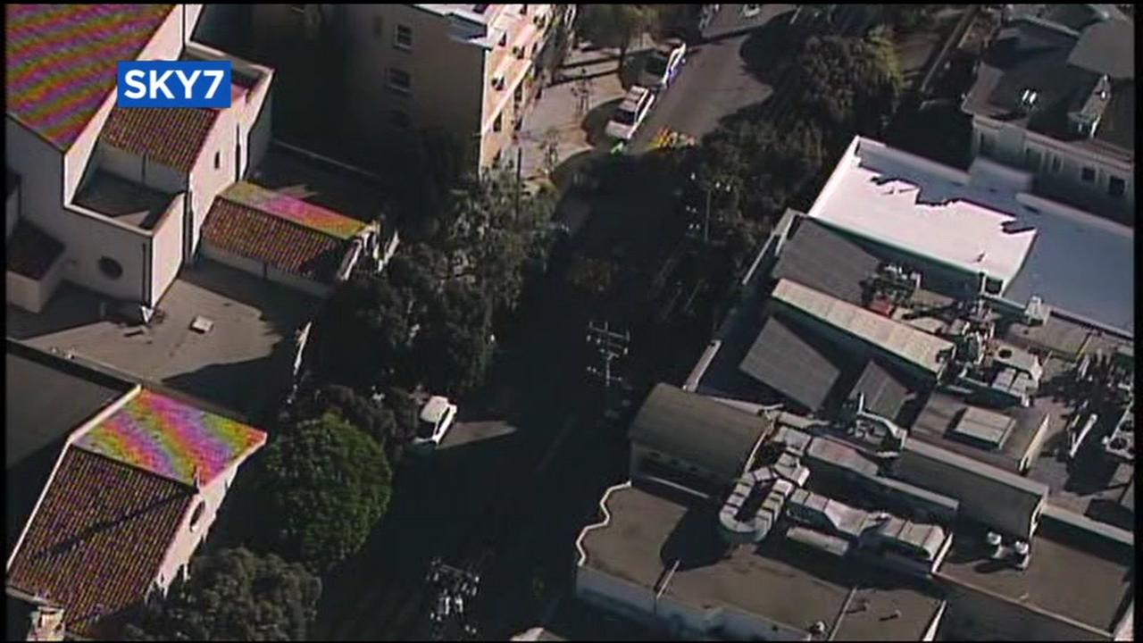 Sky7 was over the scene in San Franciscos Haight-Ashbury neighborhood on Thursday, Feb. 22, 2018.