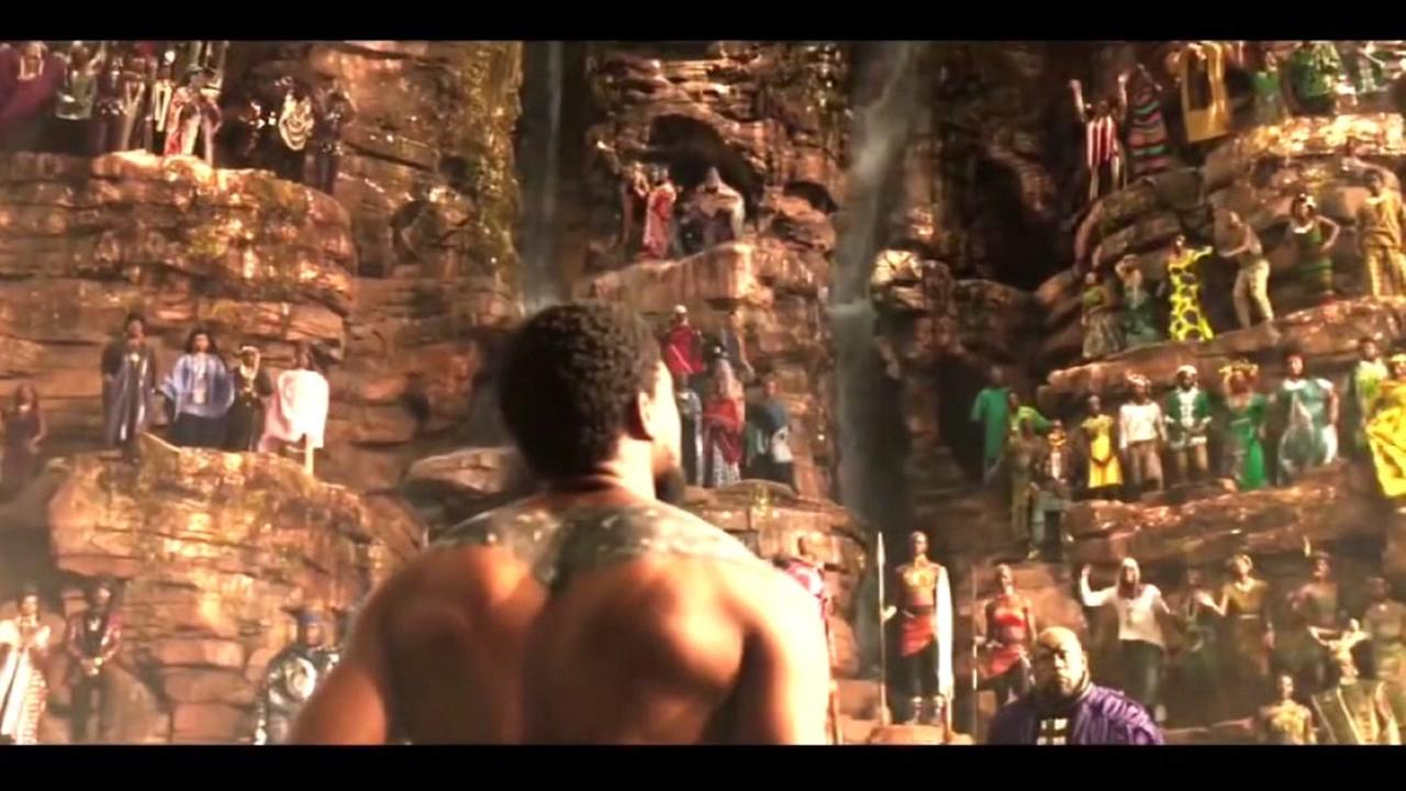 The Black Panther looks out onto the kingdom of Wakanda in this undated image from Marvels The Black Panther film.