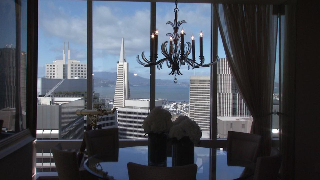 The Transamerica Pyramid can be seen from this Millennium Tower condo in San Francisco.