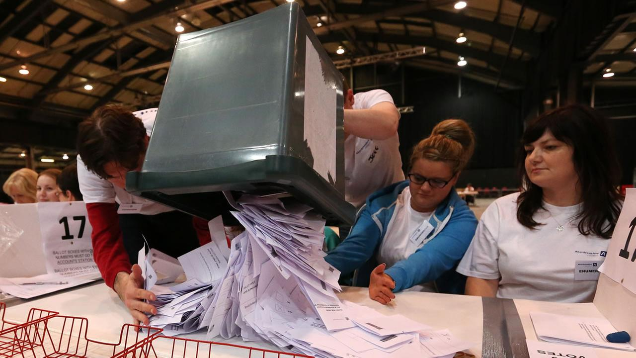 Ballot boxes are opened as counting begins in the Scottish Independence Referendum for the Aberdeenshire Council area, Aberdeen, Scotland.
