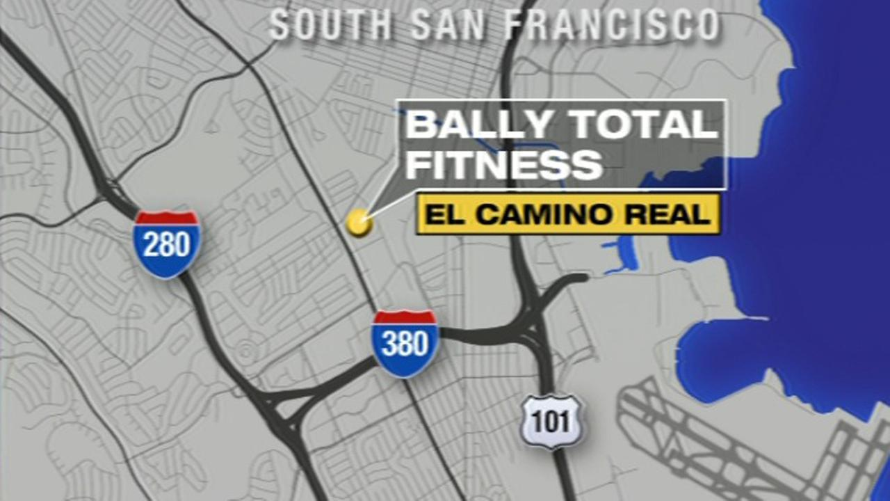 Map of Bally Total Fitness in South San Francisco.