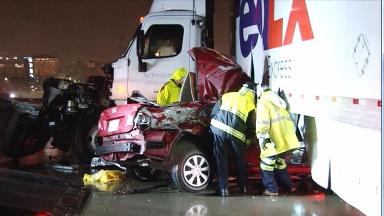 Accident involving FedEx truck in San Jose, California on Thursday, March 1, 2018.