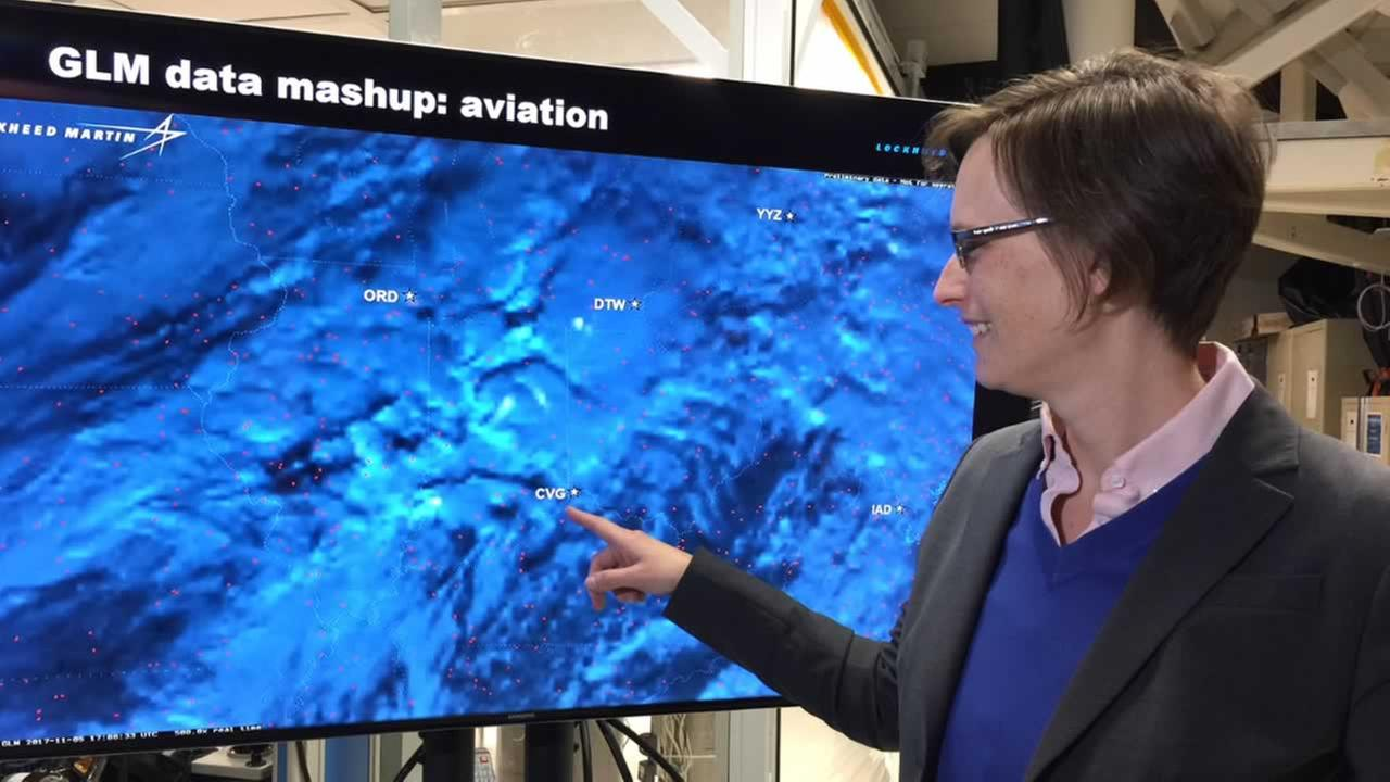 Dr. Samantha Edgington teaches ABC7 News about a new weather satellite in Palo Alto, Calif. on Thursday, March 1, 2018.