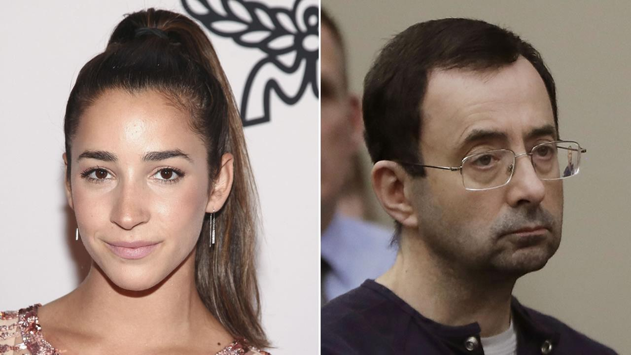 Olympic gymnast Aly Raisman is pictured, left, and Larry Nassar is pictured, right.